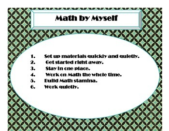 Daily 3 MATH Behaviors Anchor Charts/Posters (Art Deco Turquoise and Black)