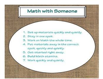 Daily 3 MATH Behaviors Anchor Charts/Posters (Burlap with Turquoise Lettering)