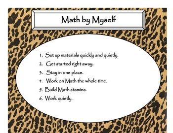 Daily 3 MATH Behaviors Anchor Charts/Posters (Cheetah/Leopard Black Lettering)