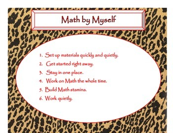 Daily 3 MATH Behaviors Anchor Charts/Posters (Cheetah/Leopard Red Lettering)