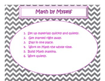 Daily 3 MATH Behaviors Anchor Charts/Posters (Gray Chevron Hot Pink Lettering)