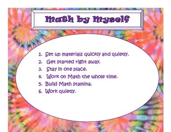 Daily 3 MATH Behaviors Anchor Charts/Posters (Tie Dye with Purple Lettering)