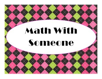 Daily 3 MATH Bulletin Board Signs/Posters (Argyle Hot Pink/Lime Green/Black)
