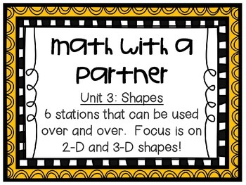 Math Centers - Math with a Partner - Unit 3: Shapes