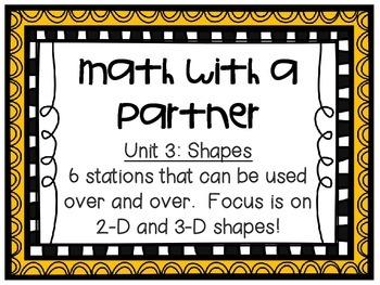 Math Centers - Math with a Partner - Unit 3: Shapes
