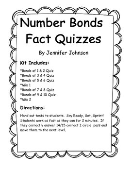 Daily 3 Math Fact Fluency Quizzes for Number Bonds