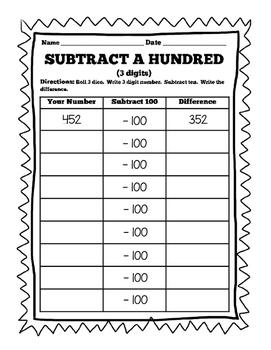 Daily 3 Math Game-  +/- 10 & +/- 100