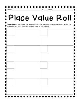 Daily 3 Math Game- Place Value Roll Picture Form