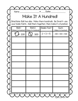 Daily 3 Math Make It A Hundred