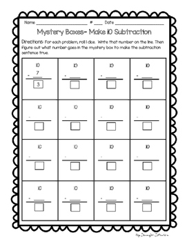 Daily 3 Math Mystery Boxes- 6 Missing Numbers games (+ & -)