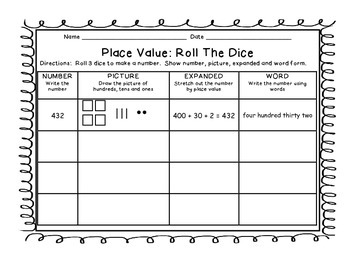 Daily 3 Math Place Value Roll Game