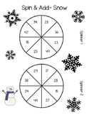 Daily 3 Math Spin and Add; Spin and Subtract SNOW theme