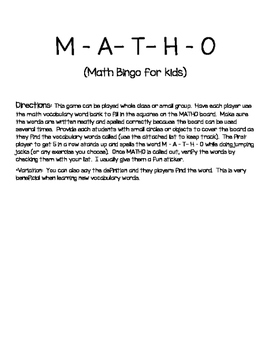 Daily 3 Math- Vocabulary Game M-A-T-H-O
