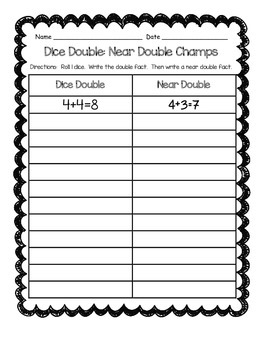 Daily 3 Math games- Dice Double:  Near Double Champs