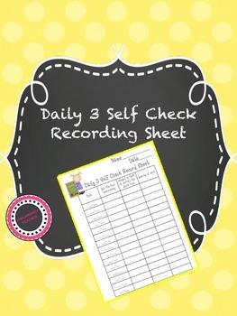 Daily 3 Self Check Recording Sheet