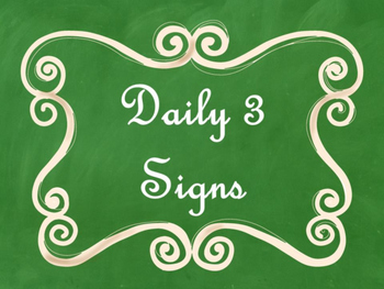 Daily 3 (Three) Math Signs/Posters (Green Chalkboard/Curly