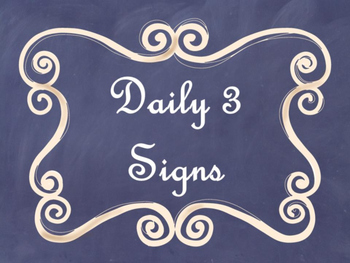 Daily 3 (Three) Math Signs/Posters (Navy Chalkboard/Curly