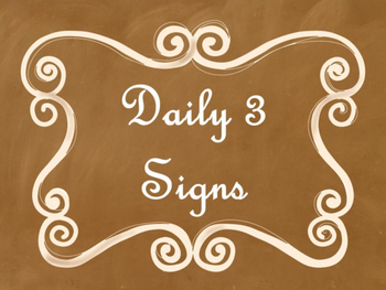 Daily 3 (Three) Math Signs/Posters (Ombre Chalkboard/Curly Frames Theme)