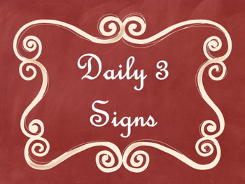 Daily 3 (Three) Math Signs/Posters (Red Chalkboard/Curly F