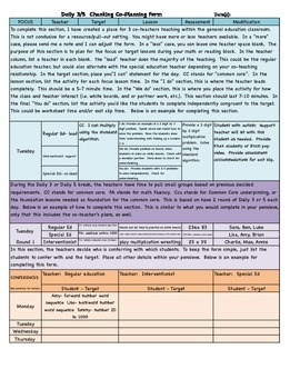 Daily 3 and Daily 5 Co-Teaching Planning Documents