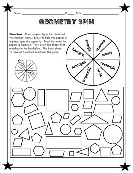 Daily 3 math game- geometry spin