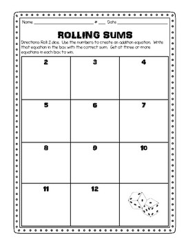 Daily 3 math game - rolling sums
