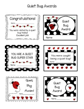 Daily 3 math or daily 5 Quiet bugs (or critters) Awards