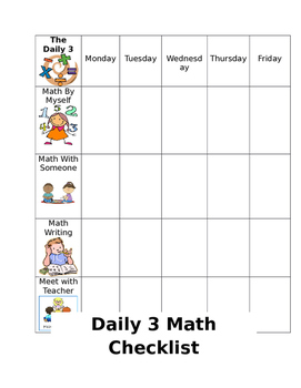 Daily 3 student checklist