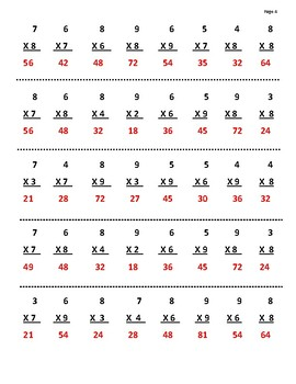 Daily 30 Second Multiplication Facts 6-9 Practice
