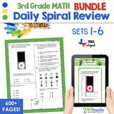 3rd Grade Daily Spiral Math Review Sets 1-5 BUNDLE -TEKs/STAAR Aligned