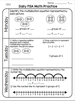 Daily 3rd Grade Math FSA Practice Morning Work by Cori ...