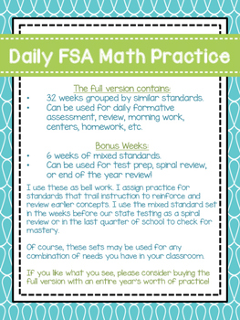 Daily 3rd Grade Math FSA Practice Morning Work SAMPLE by ...