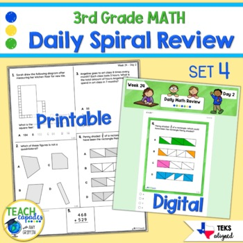 Daily 3rd Grade STAAR Math Review 4th Six Weeks - New Math TEKs
