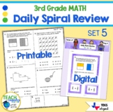 3rd Grade Daily Spiral Math Review Set 5 - TEKs/STAAR