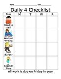 Daily 4 Checklist (Daily 3, Daily 5 Checklist)