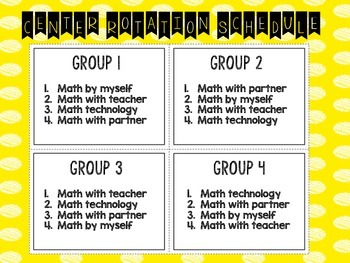 Daily 4 Math Schedule
