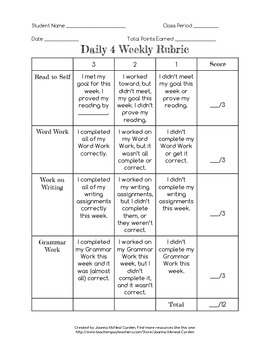 Daily 4 Rubric (Modified from Daily 5 for Middle School Cl