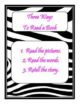 Daily 5 3 Ways to Read a Book/IPICK/EEKK Anchor Chart (Zebra/Hot Pink Themed)