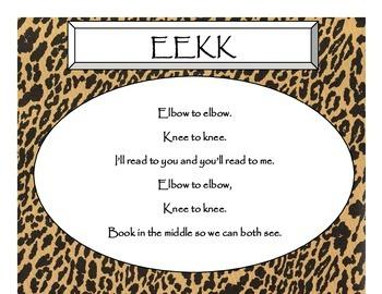 Daily 5 3 Ways/IPICK/EEKK Anchor Charts (Cheetah/Leopard Black Lettering)