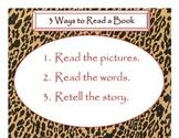 Daily 5 3 Ways/IPICK/EEKK Anchor Charts (Cheetah/Leopard Red Lettering)