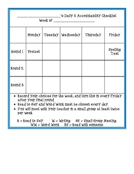 Daily 5 Accountability Checklist