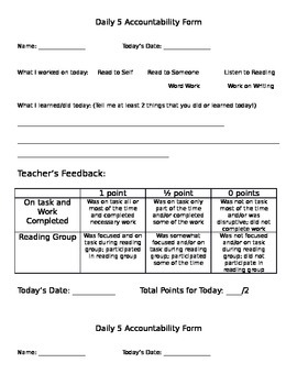 Daily 5 Accountability Form with Teacher Score/Feedback