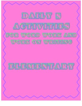 Daily 5 Activities