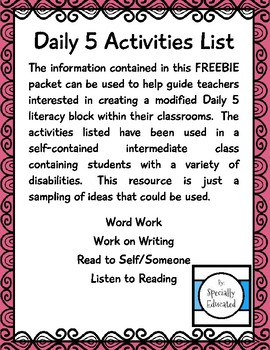 Daily 5 Activity List FREEBIE - Special Education