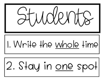 Daily 5 Anchor Chart Black & White (Includes Cursive)