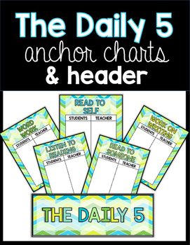 Daily 5 Anchor Charts in Green and Blue