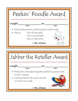 Daily 5 Beanie Baby Reading Strategy Awards