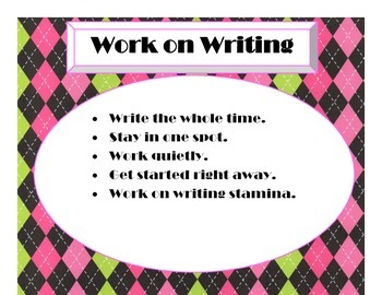 Daily 5 Behaviors Anchor Charts (Argyle w/Hot Pink, Lime Green, Black)