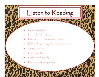 Daily 5 Behaviors Anchor Charts (Cheetah with Red Lettering)