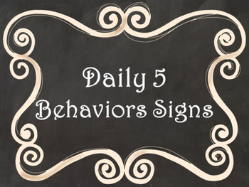 Daily 5 Behaviors Anchor Charts/Signs/Posters (Black Chalkboard/Curly Frames)